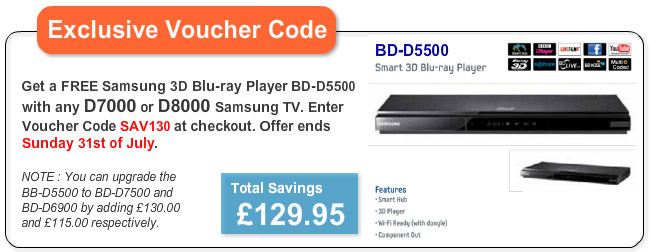 Free Samsung 3D Smart Blu-ray Player BD-D5500 Worth £130 with any Samsung D7000 + D8000 TV