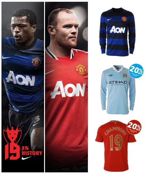 Get 20% off Manchester United Home & Manchester City Home/Away shirts