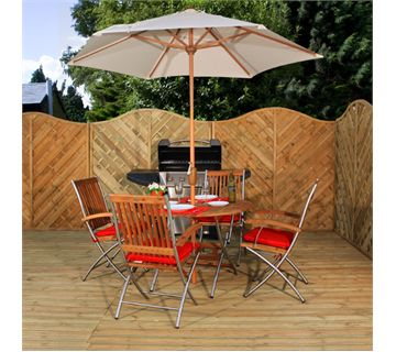 Hallmark Stainless Steel Garden Furniture Puerto Christo Table With 4 Folding Armchairs
