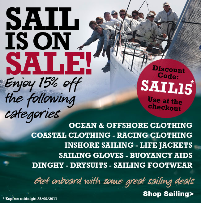 Get 15% off sailing equipment and accessories