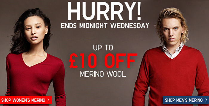 £10 off merino sweaters for men and women