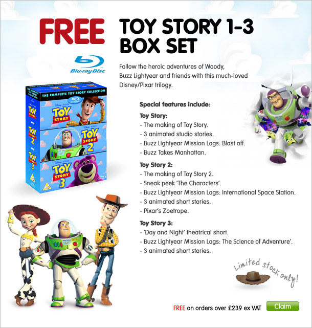 Free Toy Story box set 1-3 on Blu-Ray DVD