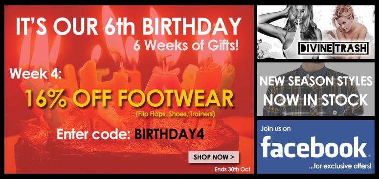 16% off all footwear