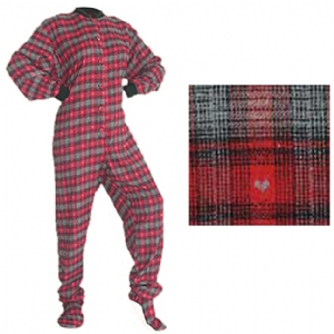 Sleepsuits for Adults Red and Black with Hearts