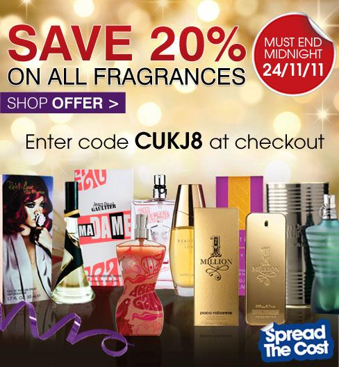 Save 20% on all fragrances