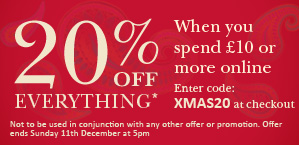 Save 20% when you spend £10 or more