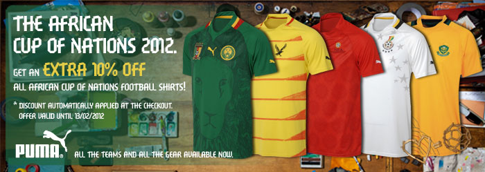 10% OFF ALL African Cup of Nations football shirts