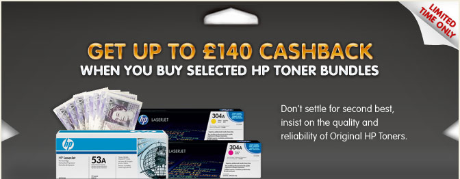 £140 CASHBACK when you buy selected HP Toner Bundles
