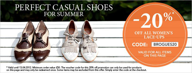 20% off all women's lace-up shoes