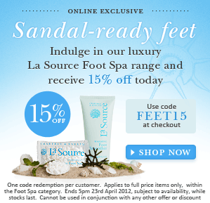 15% Off luxury La Source Foot Care range