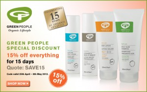 15% off all Green People's organic beauty products