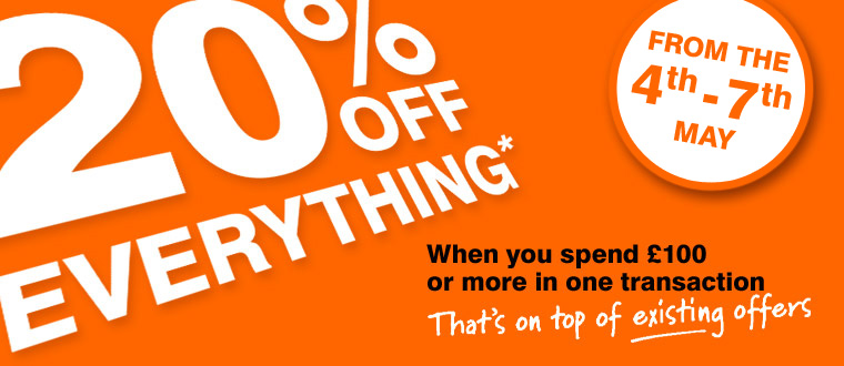 20% off everything when you spend £100 or more