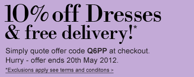10% off Dresses + Free Delivery