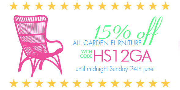 15% off the entire garden and outdoor furniture range