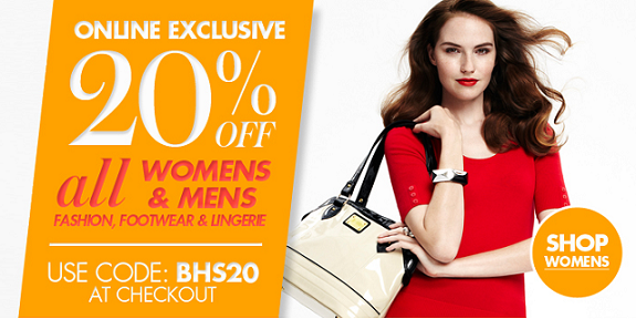 20% off all Womens & Mens Fashion, Footwear and Lingerie