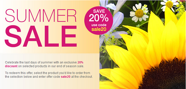20% Discount on a range of Summer bouquets at Interflora