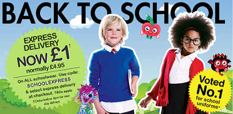 Express delivery now £1 on all schoolwear