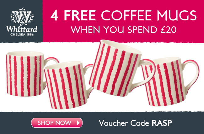 4 FREE Coffee Mugs when you spend £20