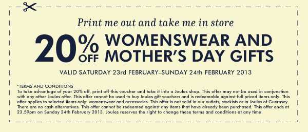 20% off Womenswear and Home & Garden items