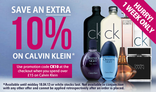 10% off all Calvin Klein Products over £15