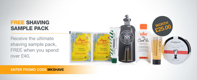 Free Shaving sample pack worth £25 when you spend £40 or more across the site
