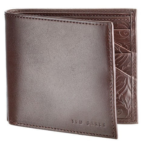 Ted Baker embossed chocolate leather wallet for £40