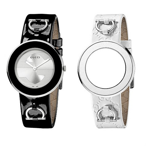Gucci U-Play black and white interchangeable strap watch for £595