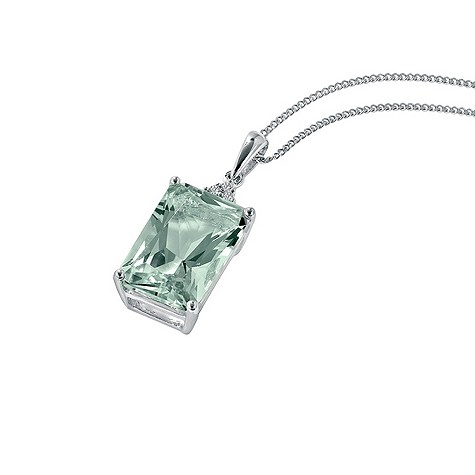 50% discount on 9ct white gold green quartz and diamond pendant