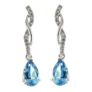 4. 9ct white gold diamond and blue topaz drop earrings for £85